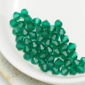 4 mm Preciosa bicone beads Emerald Matt x 50 pc(s)
