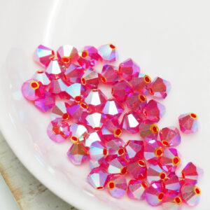 4 mm Preciosa bicone beads Light Siam AB 2x x 50 pc(s)
