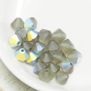 6 mm Preciosa bicone beads Black Diamond AB Matt x 20 pc(s)