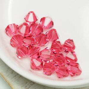 6 mm Preciosa bicone beads Indian Pink x 20 pc(s)