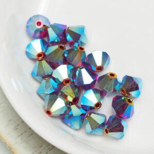 6 mm Preciosa bicone beads Siam AB 2x x 20 pc(s)
