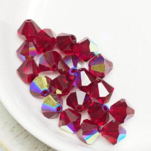 6 mm Preciosa bicone beads Siam AB x 20 pc(s)