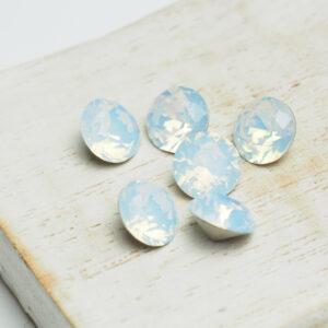 8 mm chaton glass cabochon White Opal x 6 pc(s)