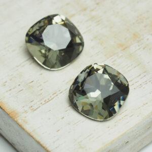 12 mm cushion cut glass cabochon Black Diamond x 2 pc(s)