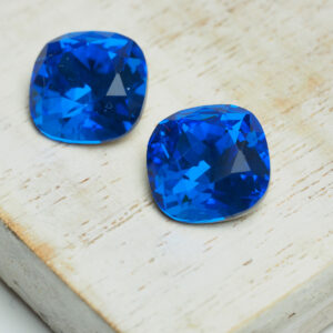 12 mm cushion cut glass cabochon Capri Blue x 2 pc(s)