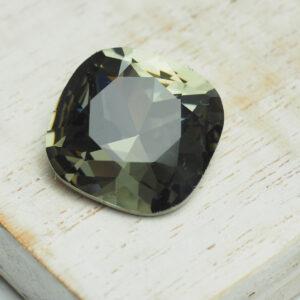 18 mm cushion cut glass cabochon Black Diamond x 1 pc(s)