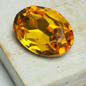 18x25 mm oval glass cabochon Light Topaz x 1 pc(s)