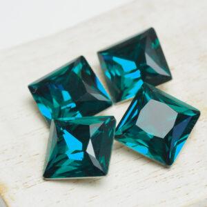 12 mm princess square glass cabochon Blue Zircon x 4 pc(s)