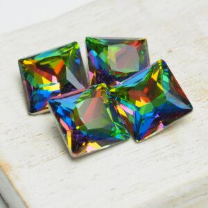 12 mm princess square glass cabochon Green Pink Rainbow x 4 pc(s)