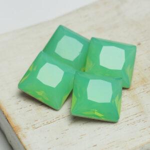 12 mm princess square glass cabochon Pacific Opal x 4 pc(s)
