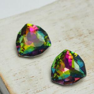 12 mm trillion glass cabochon Green Pink Rainbow x 4 pc(s)
