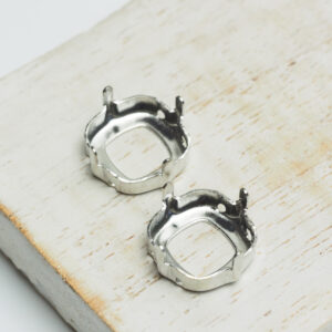 12 mm silver cushion cut claw for cabochon x 2 pc(s)