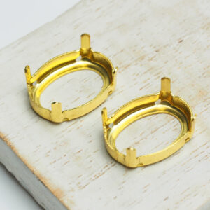 13x18 mm gold oval claw for cabochon x 2 pc(s)