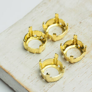 10 mm gold round claw for cabochon x 4 pc(s)