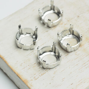 10 mm silver round claw for cabochon x 4 pc(s)