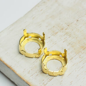 12 mm gold round claw for cabochon x 2 pc(s)