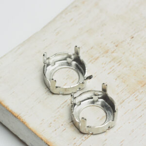 12 mm silver round claw for cabochon x 2 pc(s)
