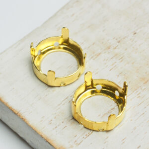14 mm gold round claw for cabochon x 2 pc(s)