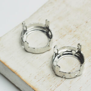 14 mm silver round claw for cabochon x 2 pc(s)